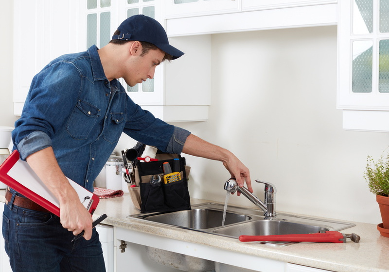 Professional checking water, plumber